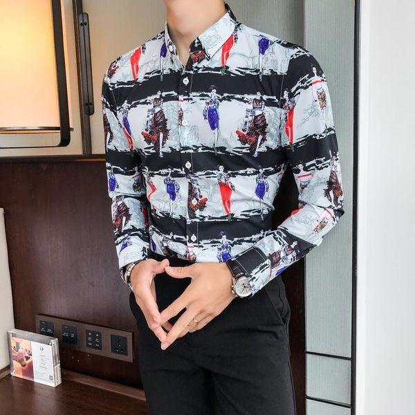 Amazing 2019 British Style Men Dress Shirt Pop Autumn Winter Slim Fit Girls Print Shirts Mens Casual Long Sleeve Party Tuxedo Blouse