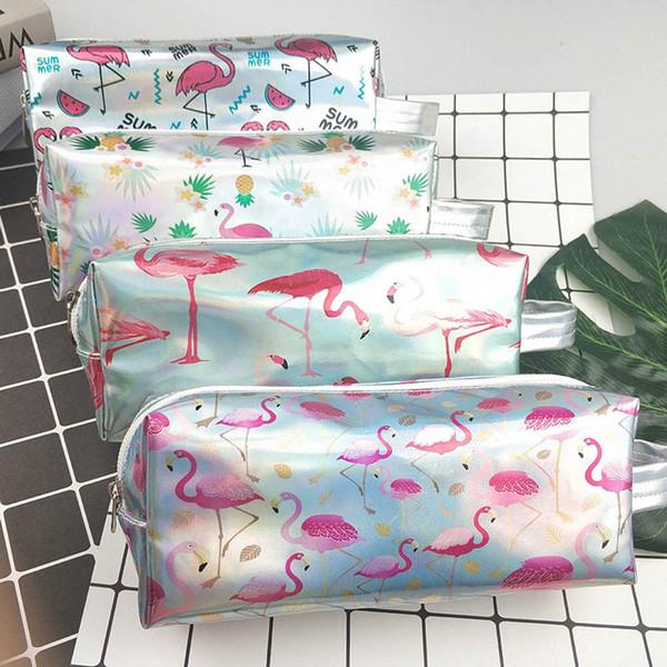 Grand Laser École Crayons Mignon Flamingo Pen Case Kawaii Boîte À Crayons Pochette Grand Sac Pour Les Filles Garçons Coréen Papeterie