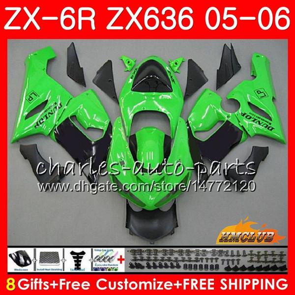 Karosserie Für KAWASAKI NINJA ZX-6R ZX-636 ZX 6R 2005 2006 35HC.51 ZX636 05 06 stock grün ZX600 ZX 636 600 600CC ZX 6 R ZX6R 05 06 Verkleidung