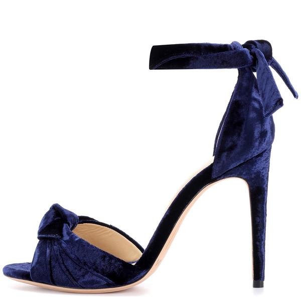 2019 yeni moda sandalet peep toes gladyatör papyon kayış kadife stiletto topuk şık sandalet yüksek topuklu kadın parti ayakkabı bayanlar yaz