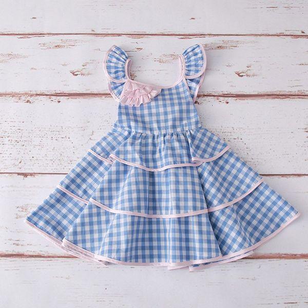 Toddler Girls Princess Dress Bambini Ruffle Backless Flower Girl Abiti Kids Designer Alta qualità Cake Dress Baby Girls Lace gonna a pieghe 06