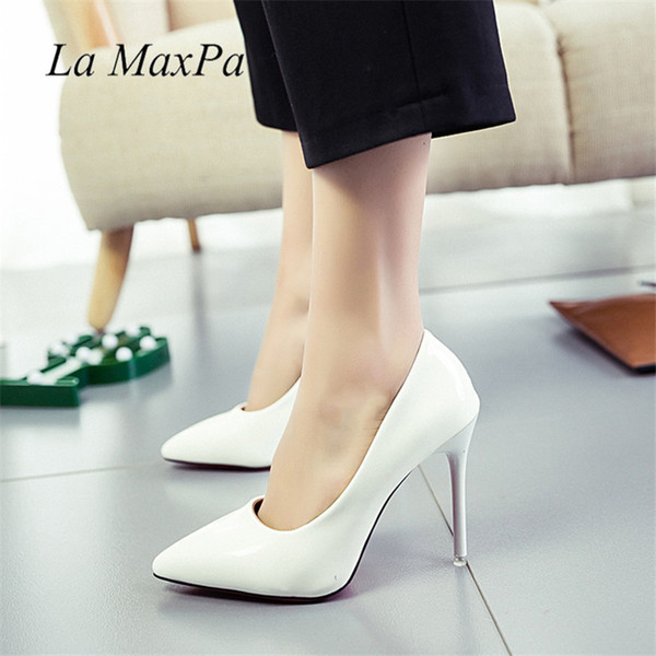 Dress La Maxpa Size 33-40 Women Pumps 2019 New Fashion 11cm Pumps High Heels Lady Formal Shallow Shoes Party Wedding Office High Jump
