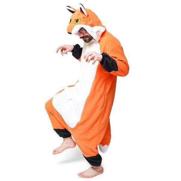 Animal adulto de alta calidad Sr. Fox Kigurumi Pijamas grueso grueso paño grueso y suave de Halloween fiesta familiar disfraces de Halloween Onesies