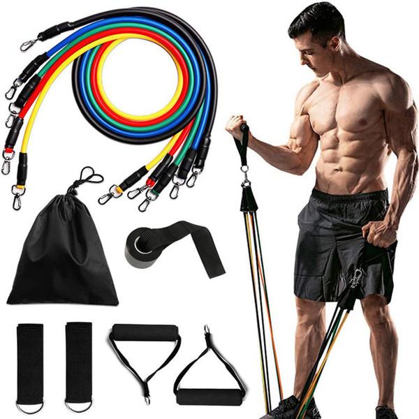 top popular 11Pcs set yoga Fitness Resistance Bands Exercise Tubes Practical Elastic Training Rope Yoga Pull Rope Pilates Workout Cordages 2020