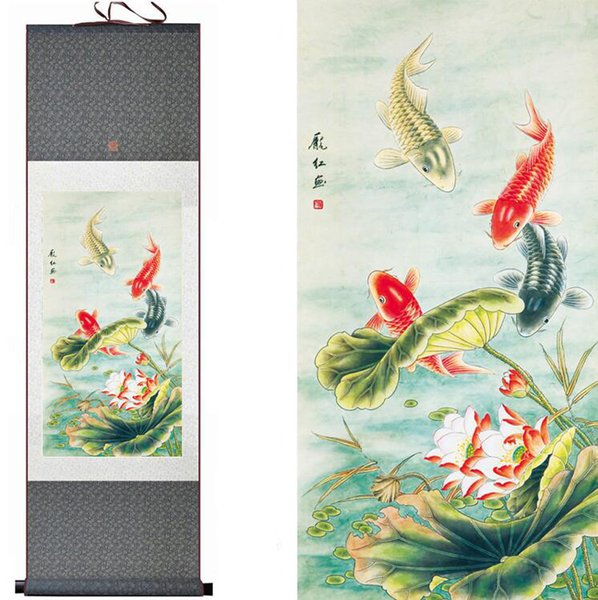 Free Shipping Fish Painting Silk Painting Traditional Art Chinese Painting 1906191139