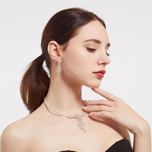 Luxury Silver Color Crystal Bride Wedding Jewelry Set Charm Peacock Design Necklace Earrings Set Women Bridal Party Jewelry