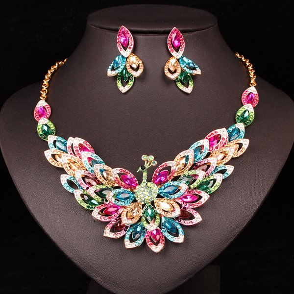 New Luxury peacock Bird Jewelry Sets Wedding Necklace Earrings Sets Crystal Women's Gold Color Chain Custome Jewellery for Women