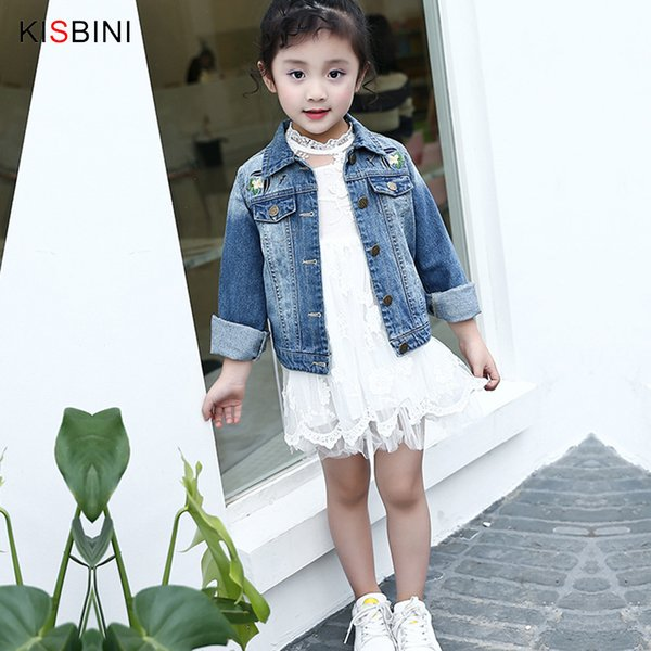 good quality 2019 Spring Autumn New Arrivals Denim Coat Girls Clothes Magpies Embroidered Jacket Cool Kid Turn-down Collar Outerwear