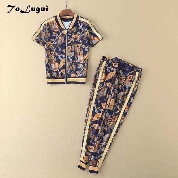 ToLugui женщин спортивный костюм 2019 лето новый напечатали короткий рукав моды женщина 2 шт набор Running корейский набор трусов женщин костюмы