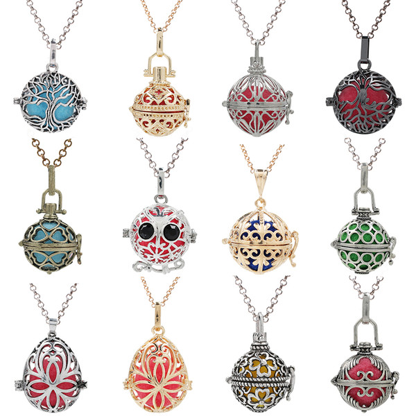 200 Style Tree of Life Owl Birdcage Locket Essential Oil Diffuser Pendant Mexico Chime Ball Necklace Lave Bead charms for Jewelry Making
