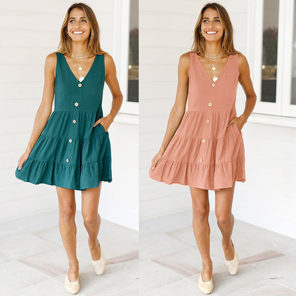 V Cou Sans manches Robe Bouton Robe Ruched Summer Beach Casual Robes Designer Femmes Vêtements Rose Vert Goutte SHIP 220126