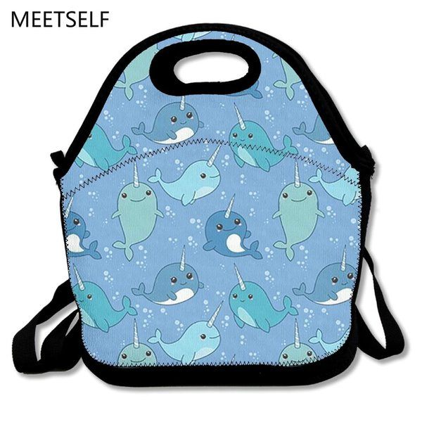SAMCUSTOM 3D Print Cute blue narwhal Lunch Bags Insulated Waterproof Girl Packages men and women Kids Babys Boys Handbags