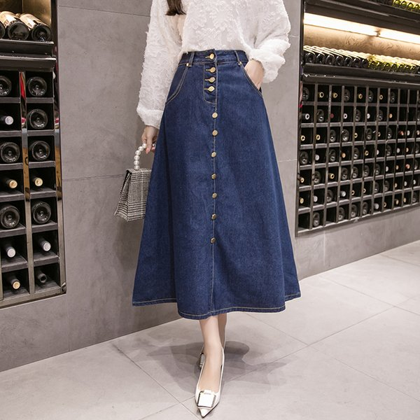 New Elegant Long Denim Skirts For Women Summer A Line Ladies Skirt Blue With Button Cool Fashion Woman's Jeans Skirt