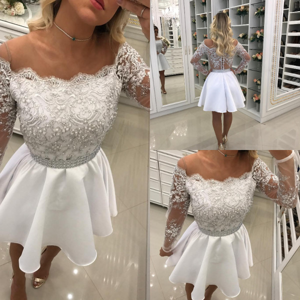 Fit Flare Pearls Short Prom Dresses O Neck Sheer Long Sleeves White Little Girls Appliques Beaded Evening Cocktail Gowns See Through Back