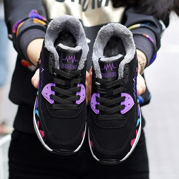 Зимние женские девушки Детская мода Фитнес Спортивная обувь Женский камуфляж Теплый Низкий, чтобы помочь увеличить обувь на толстой подошве EUR32-41