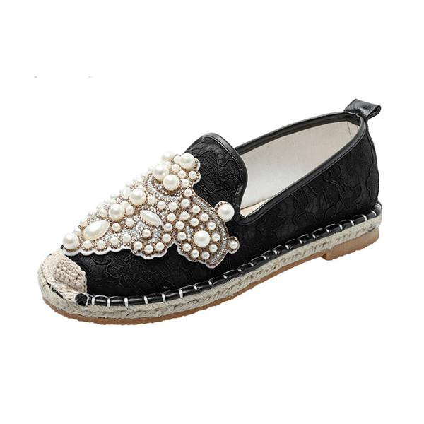 Deslizamento Luxuery Bead pérolas em Mulheres Loafers Hemb Palmilha Ladies Flats Shoes Primavera Outono Fishman Alpercatas sapatos rasos mulheres