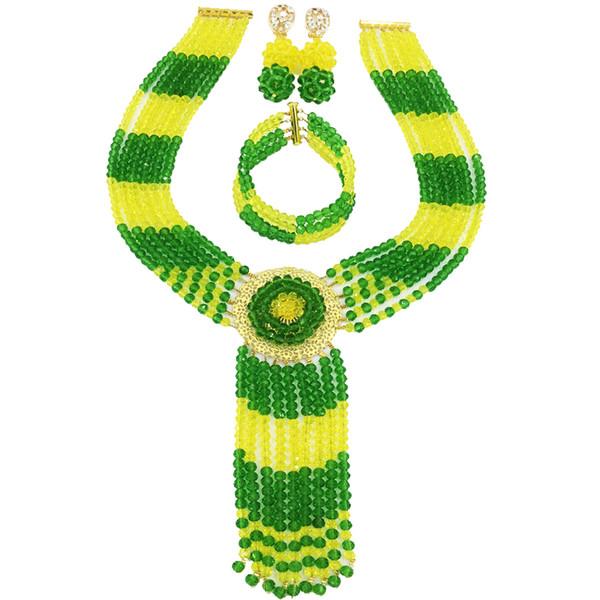 Set di gioielli perline di cristallo giallo verde africano per le donne Nigerian Wedding Pary Jewelry Gifts 6CXLS11
