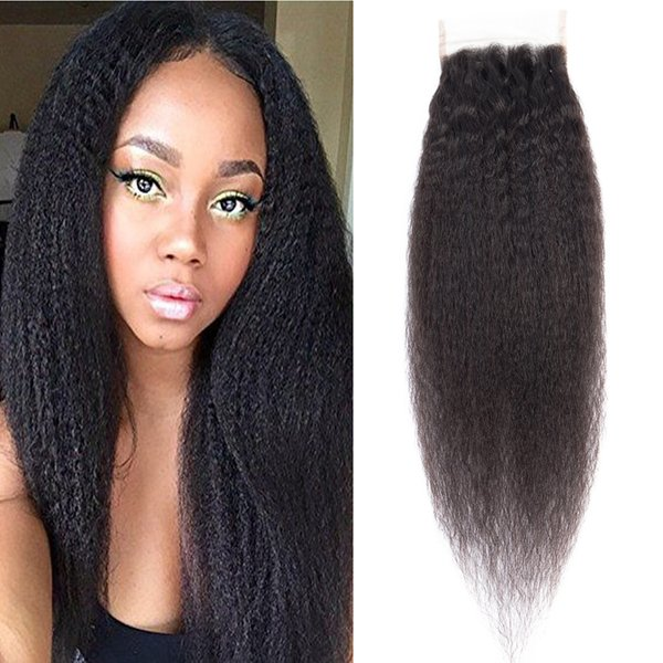 Dressmaker 4x4 Free Part 3pcs Closure Kinky Straight Hair Lace Closure With Baby Hair Peruvian Non Remy Hair Natural Color