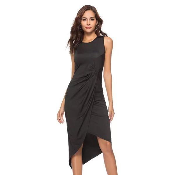 Compre Vestido Con Etiqueta Negra Para Mujer 2019 Vestido Irregular Espalda Abierta Con Espalda Descubierta Pequeña Pequeña Sexy A 1517 Del