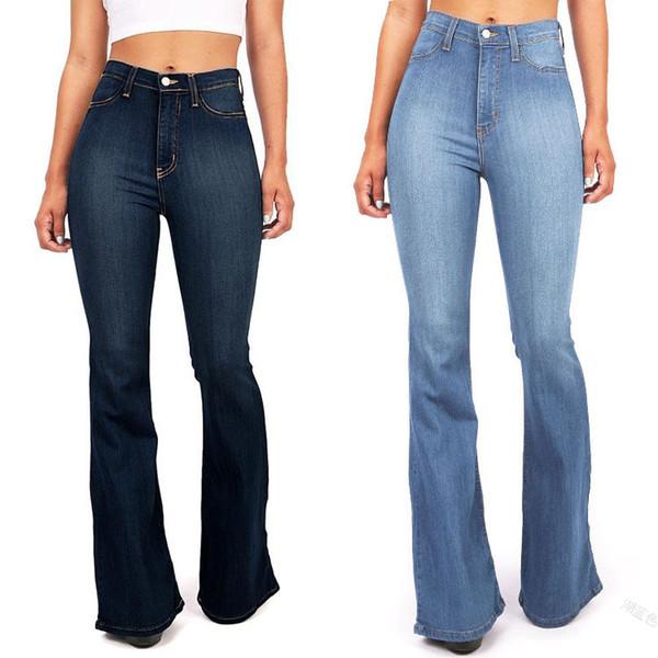 Nuove donne di modo Pure Jeans in denim di colore Casual vita alta Skinny Girls Slim Blue Womens pantaloni eleganti