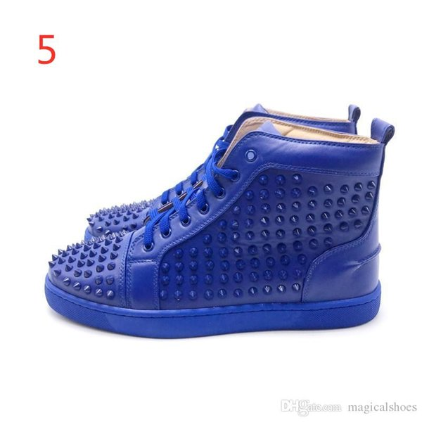 2019 Luxury Men Women Ladys Girl Party Prom Gorgeous High Casual Shoes Black Blue Bottom Studded Spikes Designer Brand Women Sneakers