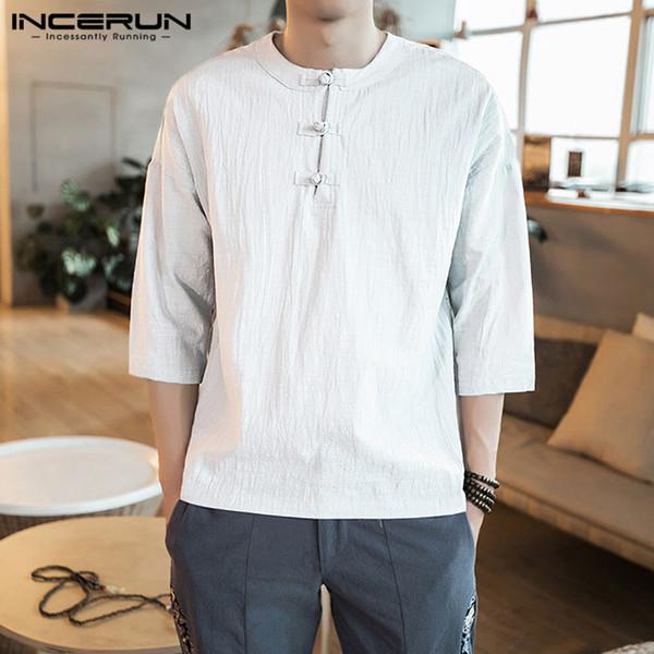 Venta al por mayor Camisas de vacaciones Masculina Camisa Boho Otoño para hombre Camisa de algodón holgada suelta tres cuartos de manga Tops Summer Plus