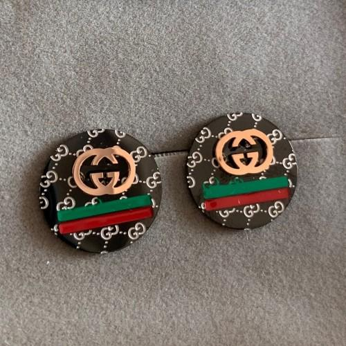 High quality rose gold black red green line letter round Stud earrings For Men Women factory wholesale