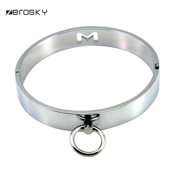 Zerosky Metal Neck Collar Bdsm Sexy Leash Ring Chain Slave Bondage Erotic Toys Role Play Erotic Sex Toys For Women Men J190523