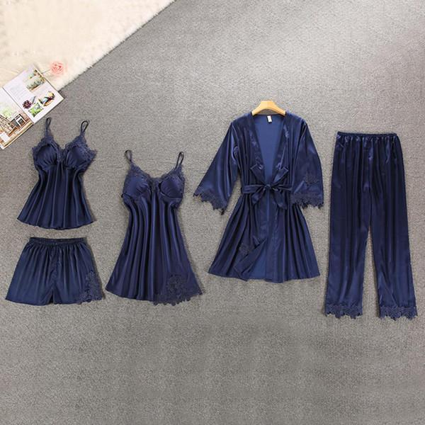 5Pcs Women Fashion V Neck Spaghetti Yes Strap Shorts Full Length Lace Patchwork Summer Nightwear Pajamas Set