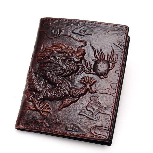 Dragón chino Billetera Carteras de los hombres de cuero genuino de la marca de fábrica de diseño único patrón masculino plegable largo corto monedero titular de la tarjeta