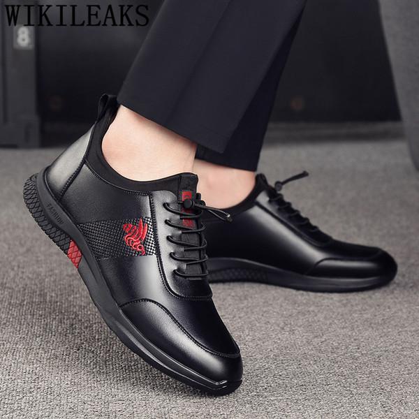 мужская обувь из натуральной кожи мужская обувь повседневная кожа черные кроссовки лифт для увеличения увеличения в рамках chaussure homme bona