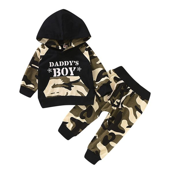 2019 active kids baby boy camo 2pcs tracksuits outfits letter hooded sweatshirt lace-up pants children boy clothing sets 1-4y thumbnail