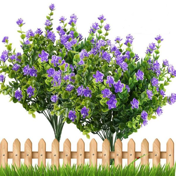 4pcs piante finte rami artificiali Vegetazione Arbusti di eucalipto con l'alito del bambino viola fiore di plastica Bush Casa Ufficio Gar
