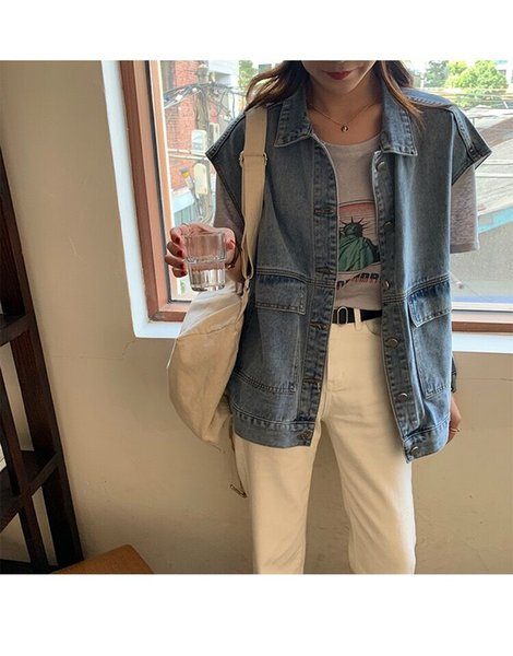 donne giubbotto jeans oversize senza maniche i jeans tee studenti serbatoio coreana cime outerwear usura vacanza di moda casual abbigliamento stile BF