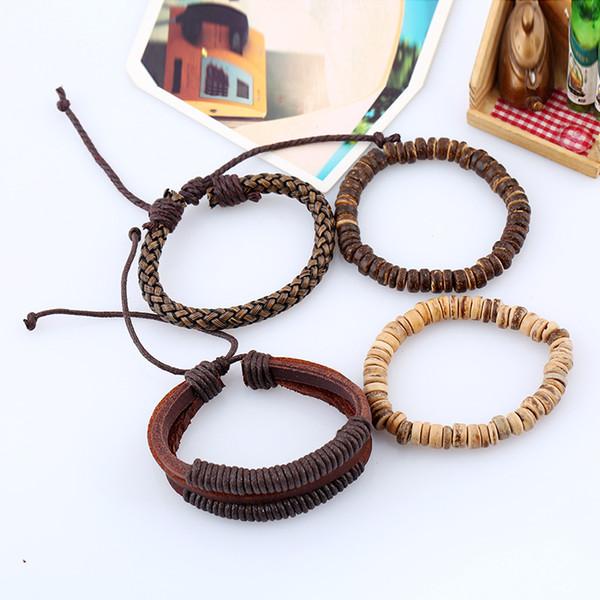 Bracelet de costume vintage simple bricolage tresse bracelet en cuir corde de noix de coco homme corde cuir