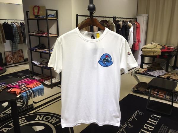 Nova moda verão clássico dos homens cor sólida em torno do pescoço T-shirt wildoi