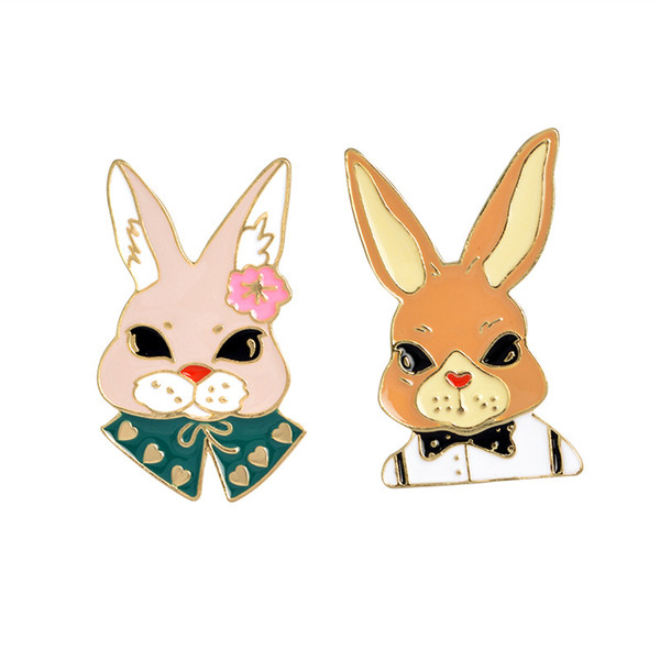Lovely Bow Tie Mr Rabbit Flower Ms. Rabbit Brooch Metal Badge Hard Enamel Pin Button Collection Shirt Collar Decor Denim Hat Accessory