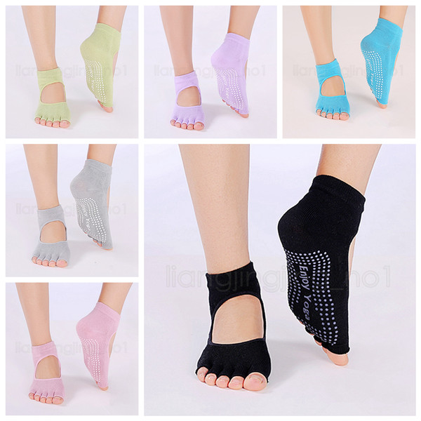 Chaussettes de yoga antidérapantes dos nu chaussettes de danse à cinq doigts cheville femmes Pilates Fitness chaussettes à bout ouvert FFA2541