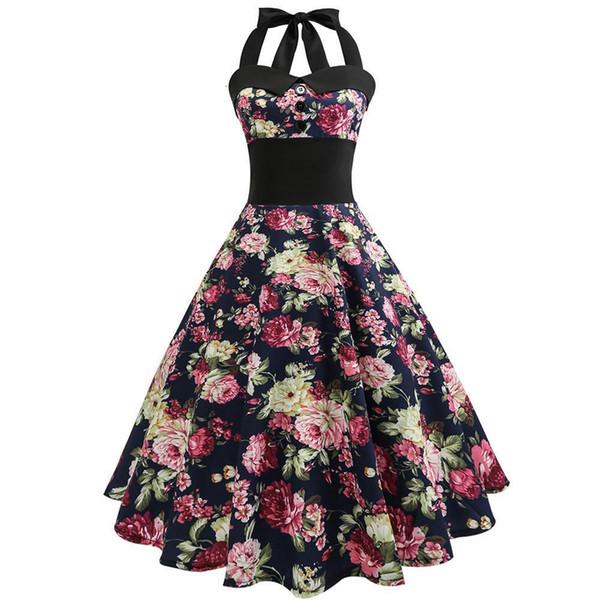 Elegant women dress retro Floral Printed slim sexy off shoulder Sleeveless Casual mini party Dresses vestidos drop ship