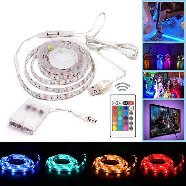 Lumières de bande d'USB LED à piles RVB SMD 5050 30 LED / M IP65 lumière changeante de couleur flexible imperméable avec le mini contrôleur