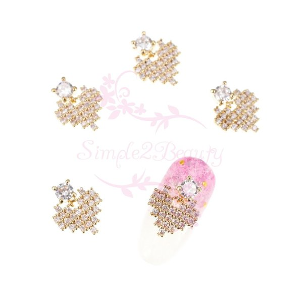 10 unids / pack Mirco Pave Heart Dangle Design Luxury Clear Zircon Rhinestones Salon 3D Nail Art joyería de los encantos Decoraciones