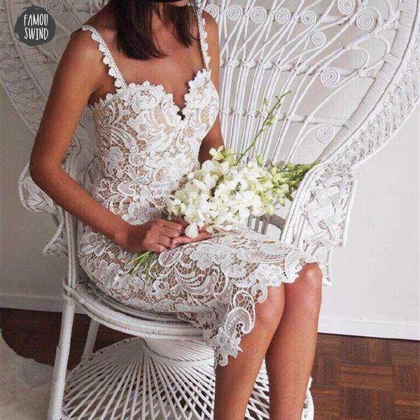 Party Dress Designer Clothes Bodycon White Black Women Sexy Sleeveless Lace Crochet Hollow Out Slim Spaghetti Strap Dress
