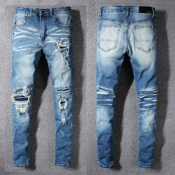brand jeans famous designer fashion pants AMIRI jeans mens hole pants casual patch trousers feet pants hot selling slim trousers 28-40 size
