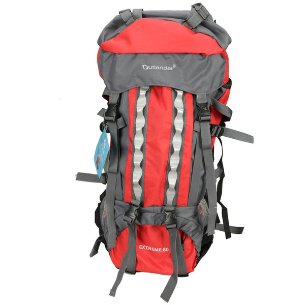 80L Outlander Professional Backpack Shoulders Bag Red & Gray