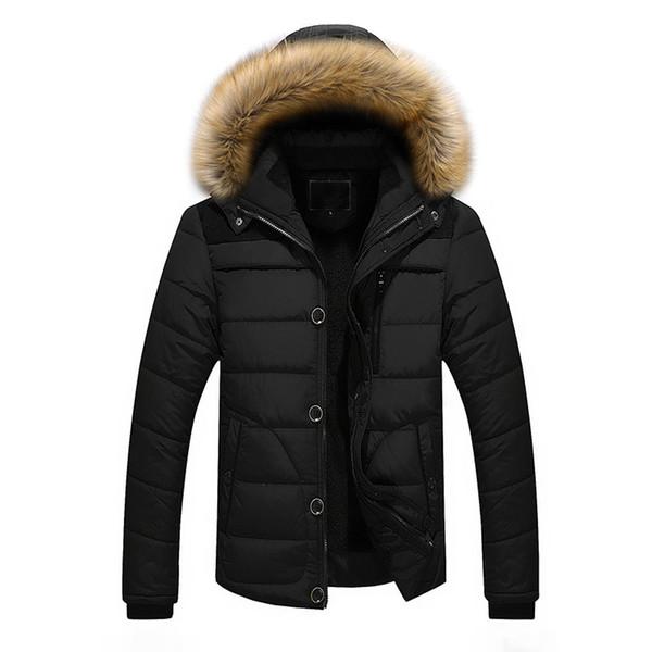 Hombres Abrigos de invierno Parka Chaqueta gruesa cálida al aire libre Abrigo con capucha de piel Chaqueta 2019 Cremallera sólida Abrigo masculino Ropa de hombre