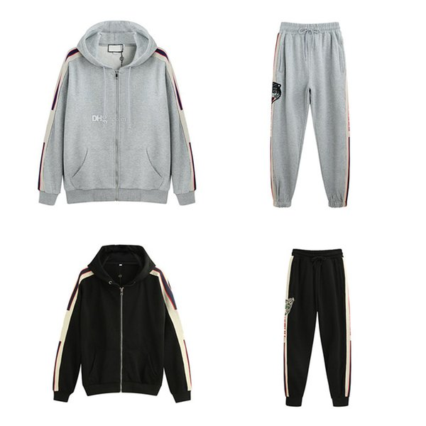 19SS gucci tracksuit  Italie Fashion Designers Marques New-UP HOODED ZIP SWEAT AVEC logo RAYURE Vêtements homme Sweat-shirts femme Sweats à capuche Homme G77