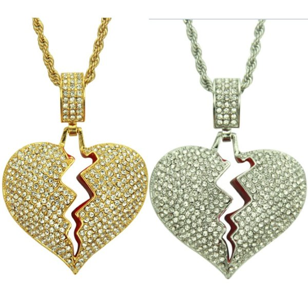 Nuevo Iced Broken Love Heart Collares pendientes Hombres Bling Crystal Rhinestone Love Charm Twisted Chain Para Mujeres Hip hop Jewelry Gifts FA2049