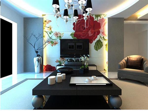 Özel boyut 3d fotoğraf duvar kağıdı oturma odası yatak odası duvar el boyalı gül çiçekler 3d resim kanepe TV zemin duvar kağıdı dokunmamış sticker