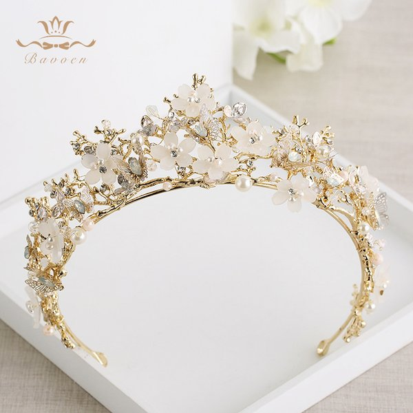 Bavoen Vintage Great Butterfly Bridals Tiaras Crowns Baroque Gold Brides Hairbands Wedding Hair accessories Prom Jewelry Gifts C18112001