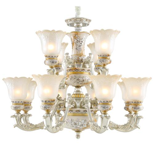 European style new model chandelier lamps villa living room bedroom 12 heads chandeliers pendant lamp American mansion restaurant lights